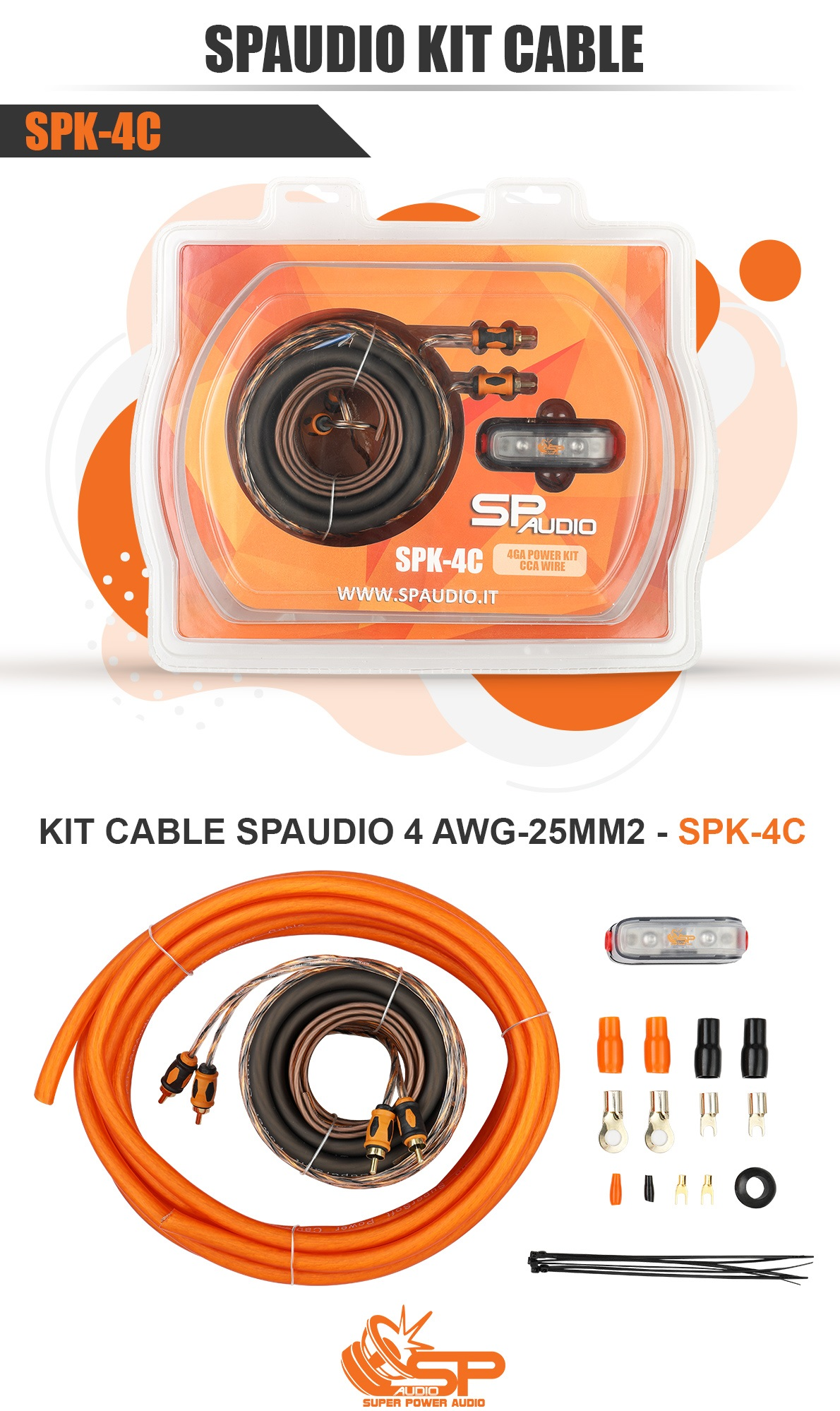 KIT CABLE SPAUDIO 4 AWG/25MM2