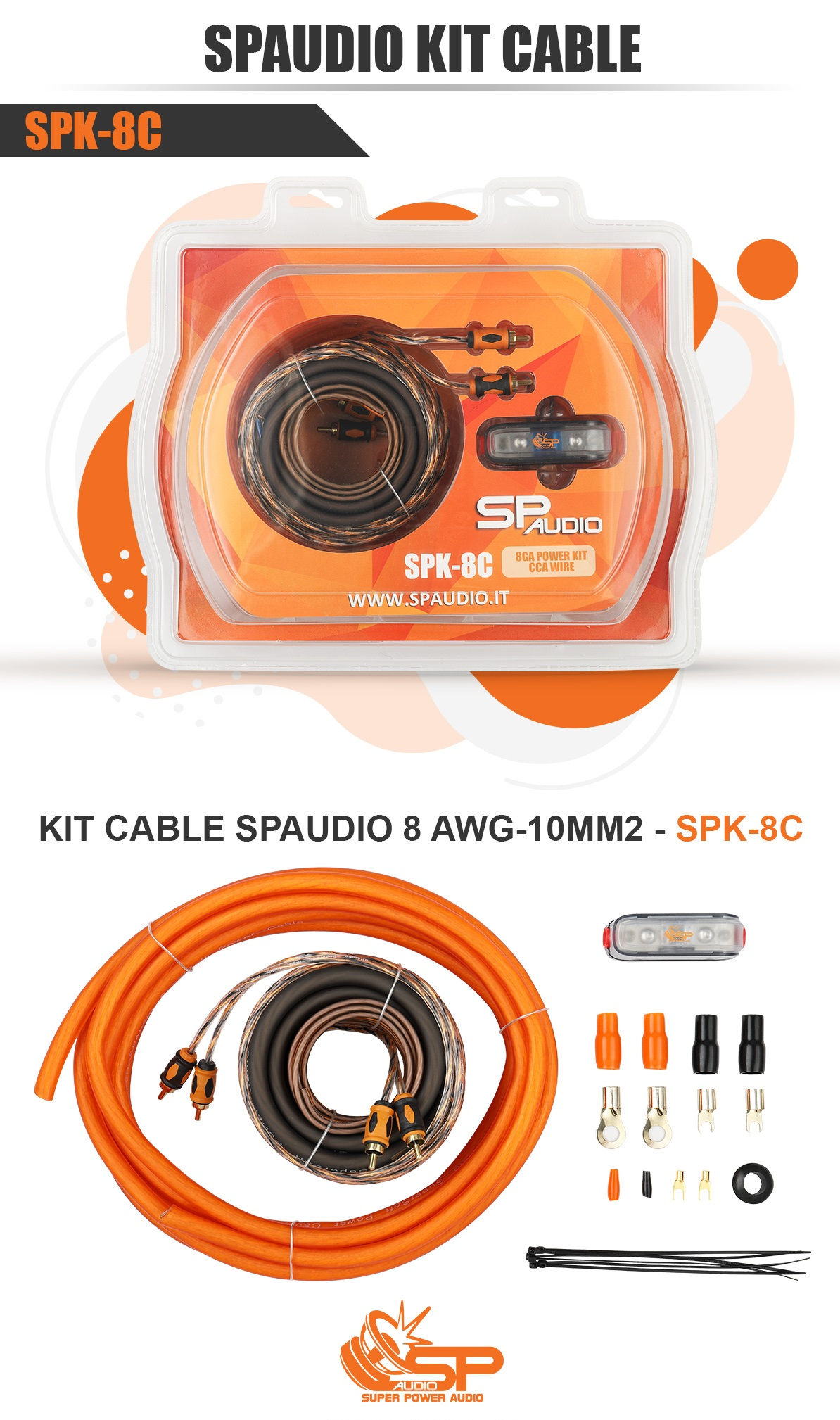 SP AUDIO 8 AWG/10MM2 AMP WIRING KIT